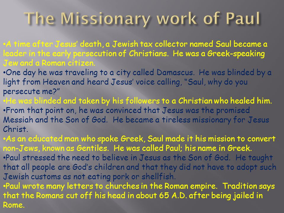 The Missionary work of Paul