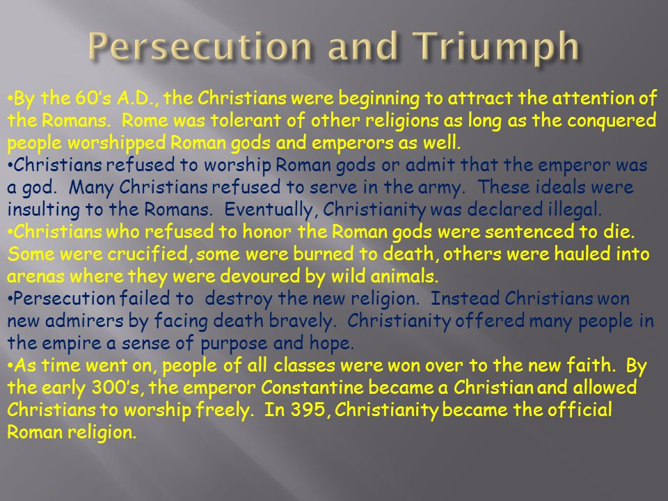 Persecution and Triumph