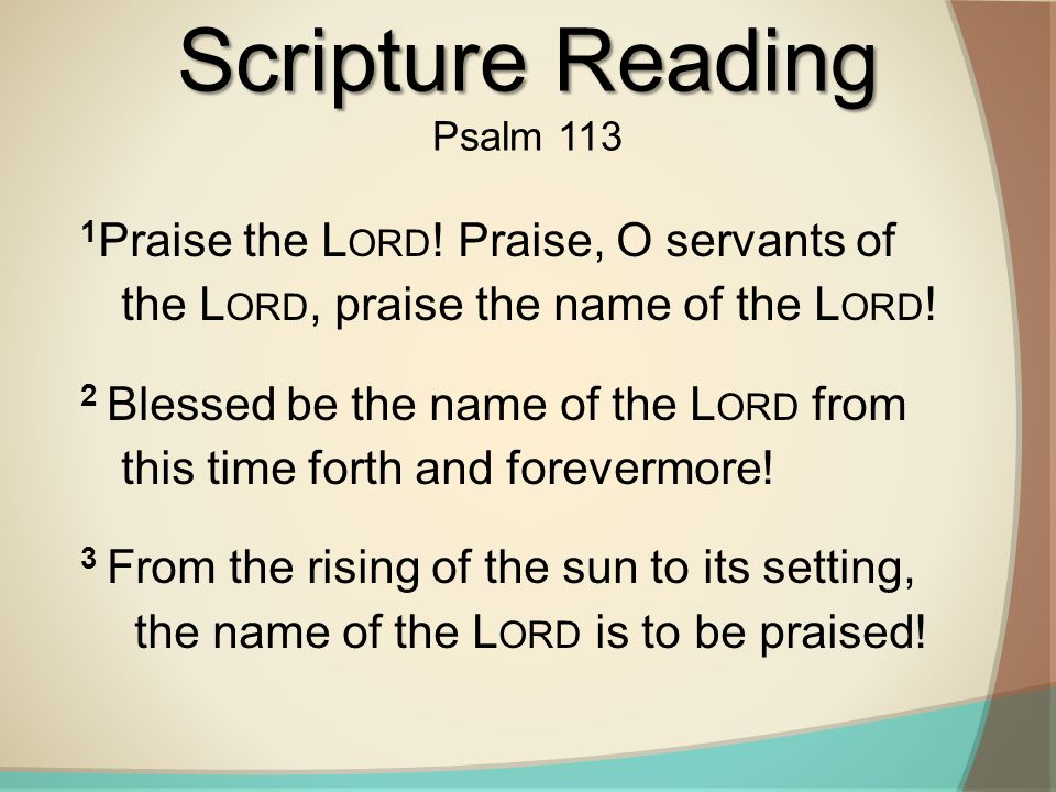 Scripture Reading Psalm 113. 1Praise the Lord! Praise, O servants of the Lord, praise the name of the Lord!