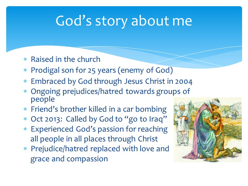 God's story about me Raised in the church