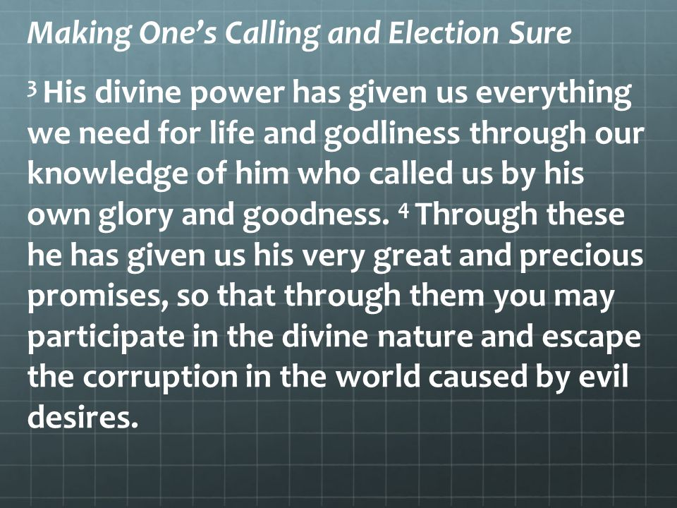 Making One's Calling and Election Sure 3 His divine power has given us everything we need for life and godliness through our knowledge of him who called us by his own glory and goodness.