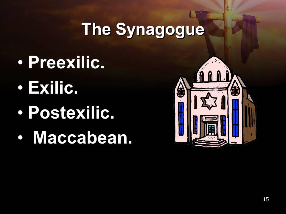 The Synagogue Preexilic. Exilic. Postexilic. Maccabean.
