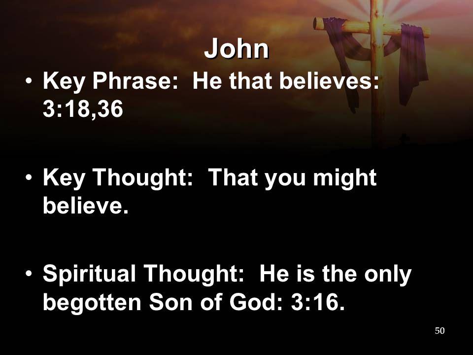 John Key Phrase: He that believes: 3:18,36