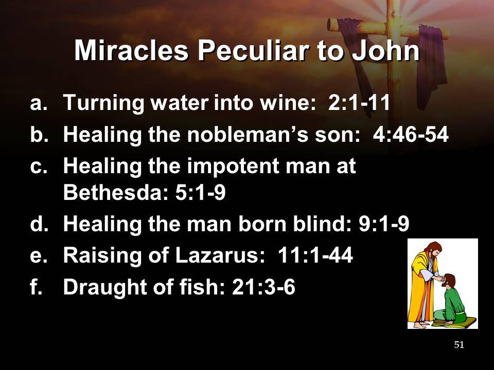 Miracles Peculiar to John