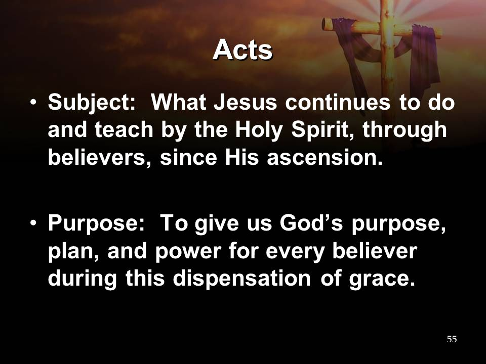 Acts Subject: What Jesus continues to do and teach by the Holy Spirit, through believers, since His ascension.