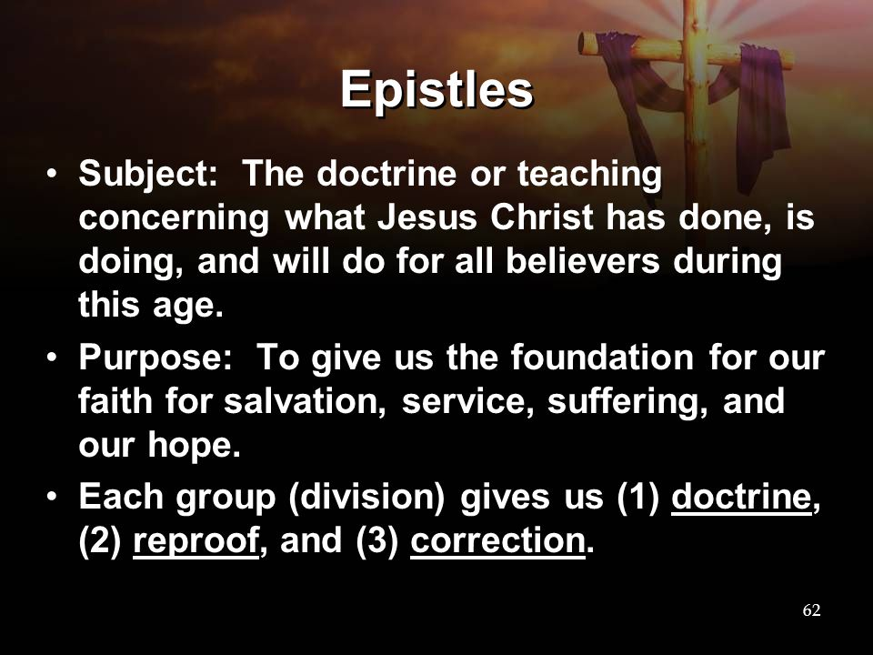 Epistles Subject: The doctrine or teaching concerning what Jesus Christ has done, is doing, and will do for all believers during this age.
