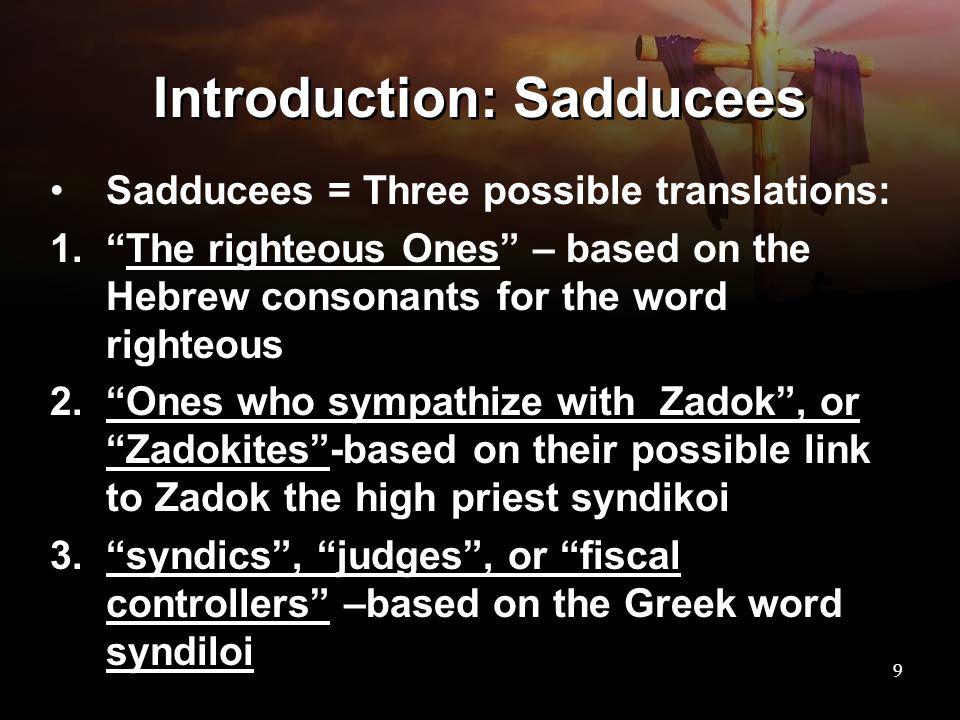 Introduction: Sadducees
