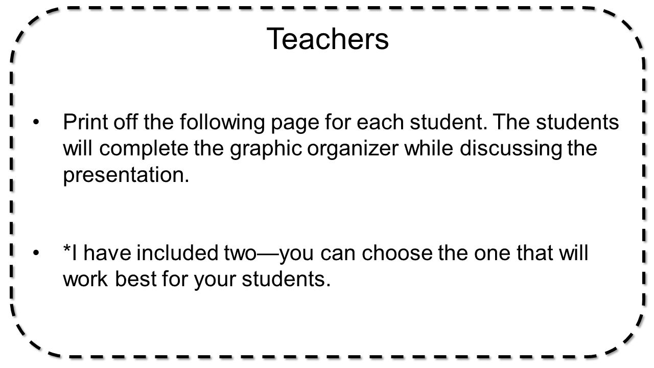 Teachers Print off the following page for each student. The students will complete the graphic organizer while discussing the presentation.