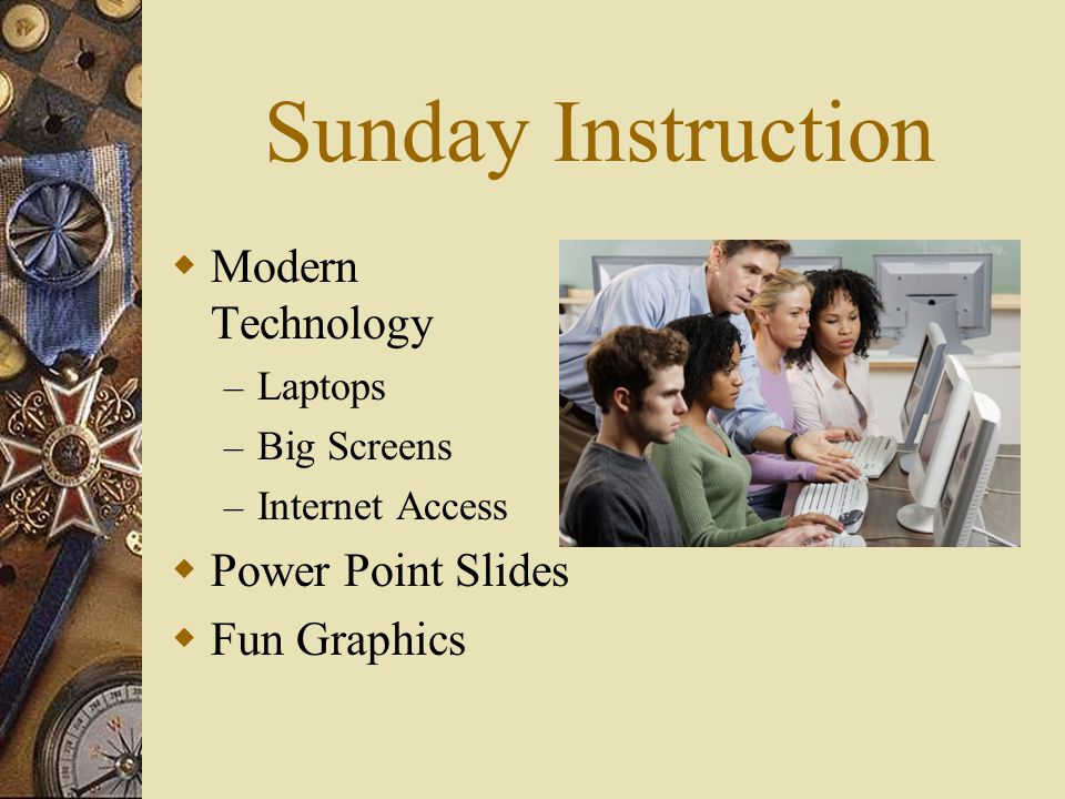 Sunday Instruction Modern Technology Power Point Slides Fun Graphics