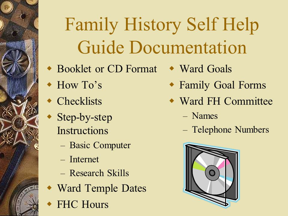 Family History Self Help Guide Documentation
