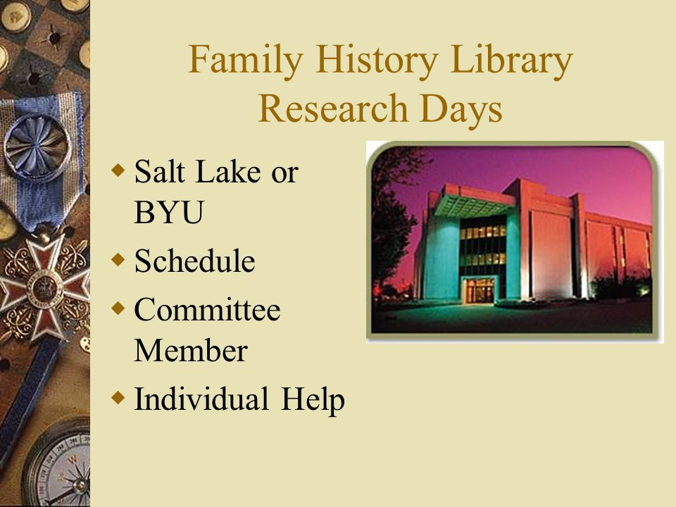 Family History Library Research Days