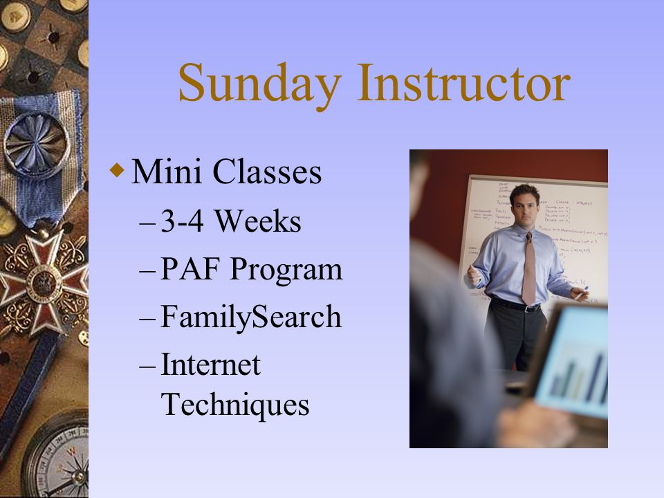 Sunday Instructor Mini Classes 3-4 Weeks PAF Program FamilySearch