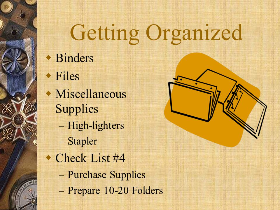 Getting Organized Binders Files Miscellaneous Supplies Check List #4