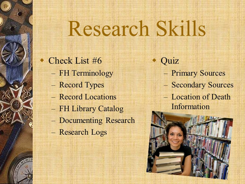 Research Skills Check List #6 Quiz FH Terminology Record Types