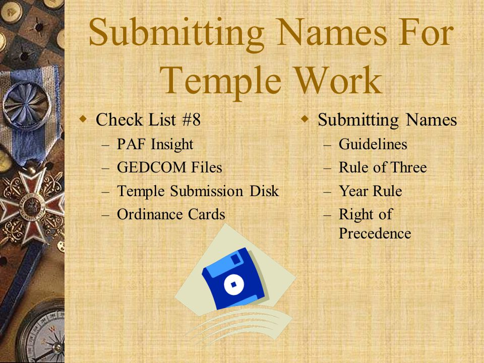 Submitting Names For Temple Work