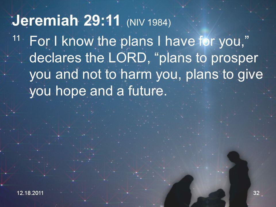Jeremiah 29:11 (NIV 1984)