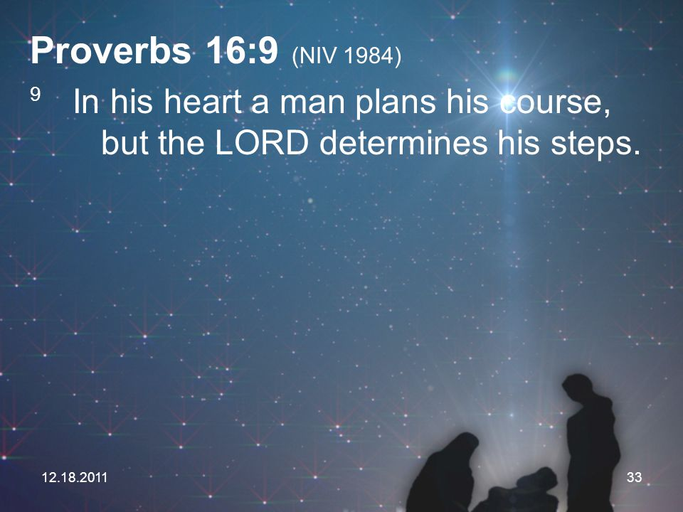 Proverbs 16:9 (NIV 1984) 9 In his heart a man plans his course, but the LORD determines his steps.
