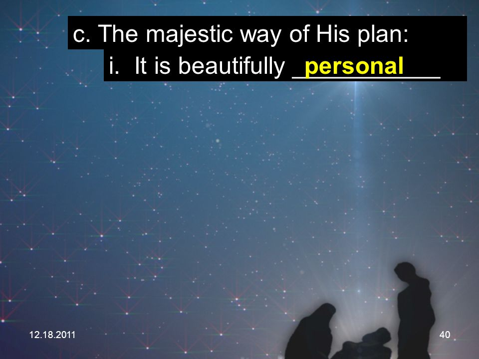 c. The majestic way of His plan: i. It is beautifully ___________