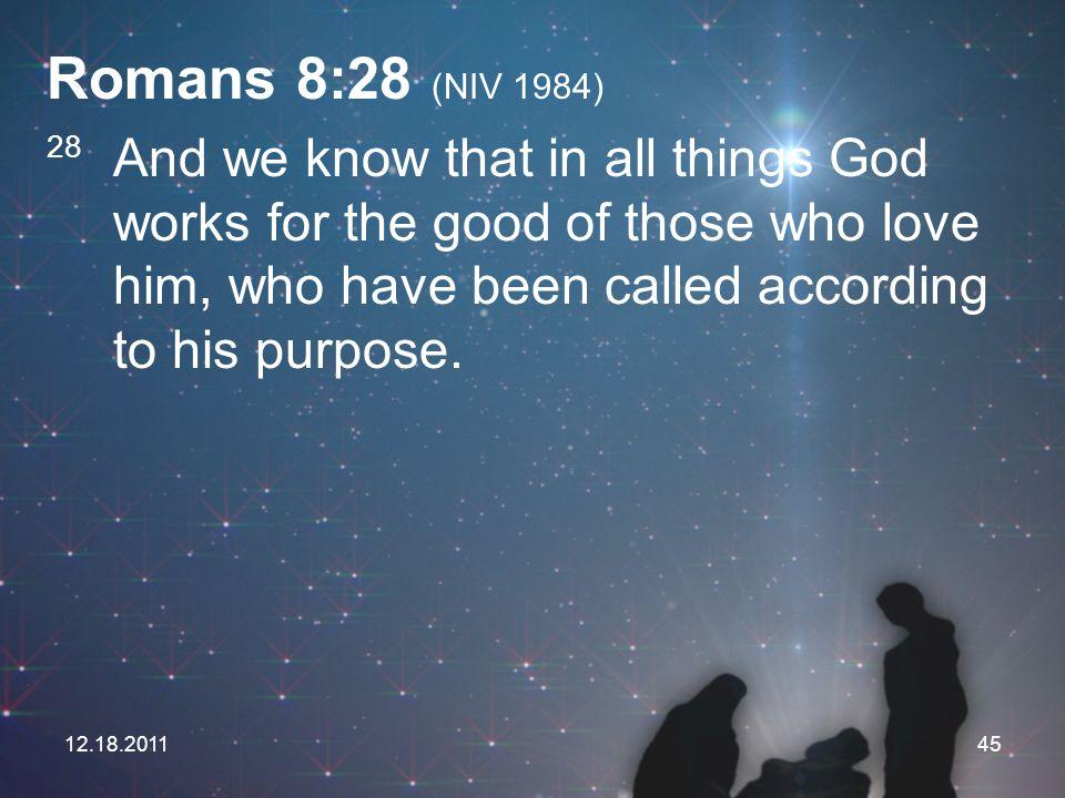Romans 8:28 (NIV 1984)