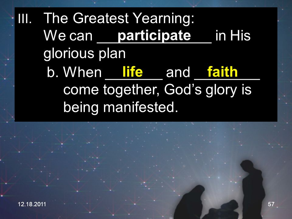 III. The Greatest Yearning: We can ______________ in His glorious plan