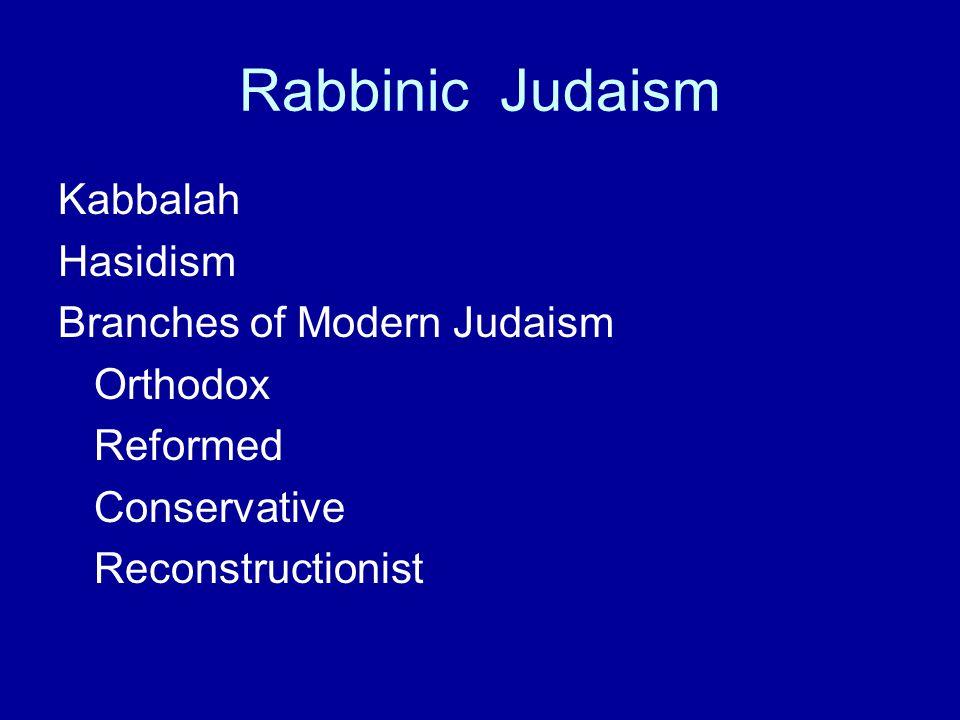 Rabbinic Judaism Kabbalah Hasidism Branches of Modern Judaism Orthodox
