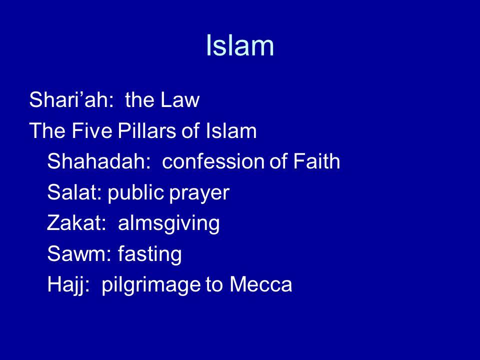 Islam Shari'ah: the Law The Five Pillars of Islam