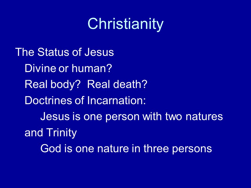 Christianity The Status of Jesus Divine or human
