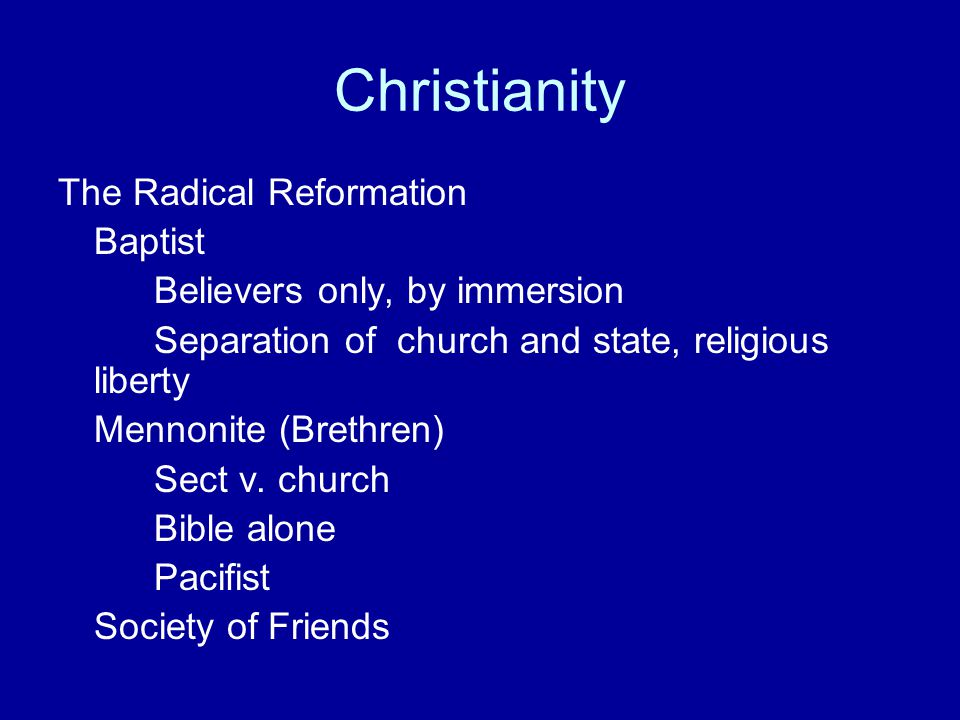 Christianity The Radical Reformation Baptist