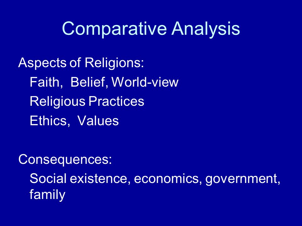 Comparative Analysis Aspects of Religions: Faith, Belief, World-view
