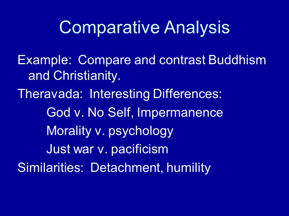 Comparative Analysis Example: Compare and contrast Buddhism and Christianity. Theravada: Interesting Differences: