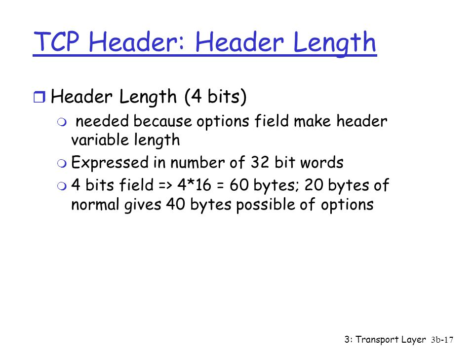 TCP Header: Header Length