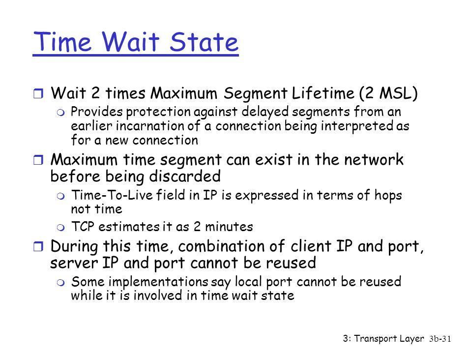 Time Wait State Wait 2 times Maximum Segment Lifetime (2 MSL)