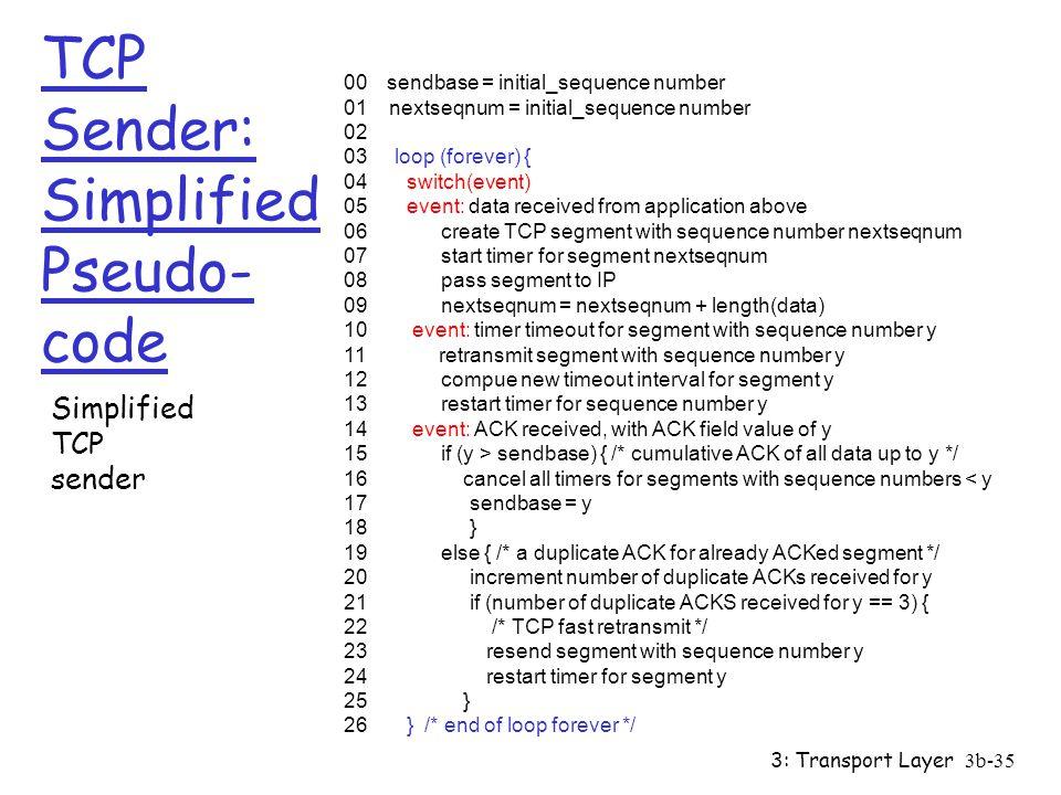 TCP Sender: Simplified Pseudo-code