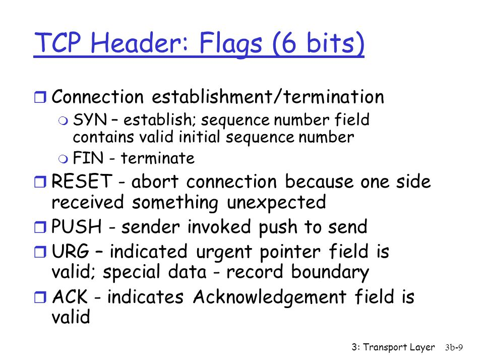 TCP Header: Flags (6 bits)