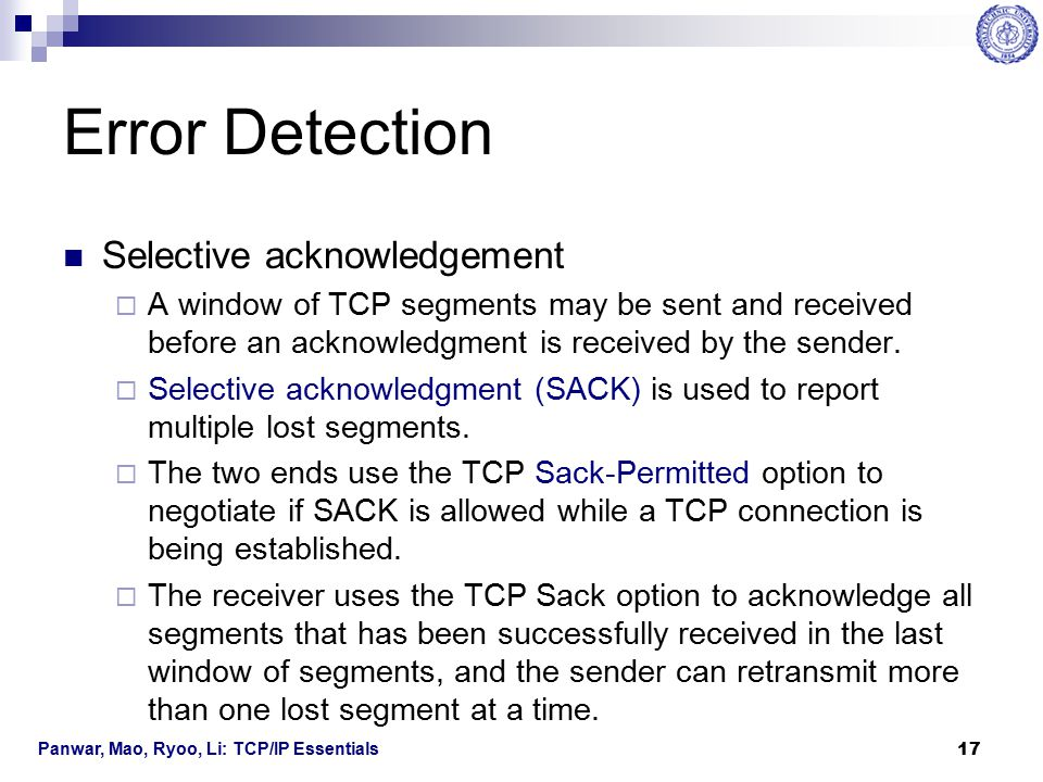 Error Detection Selective acknowledgement