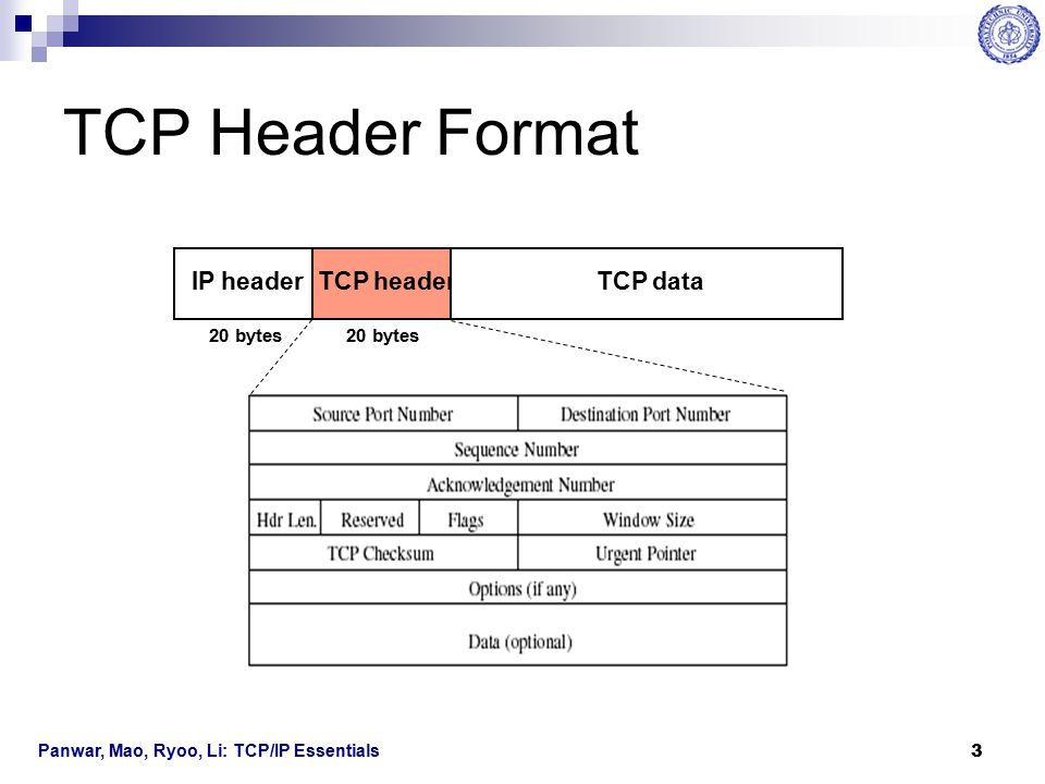 TCP Header Format IP header TCP header TCP data 20 bytes