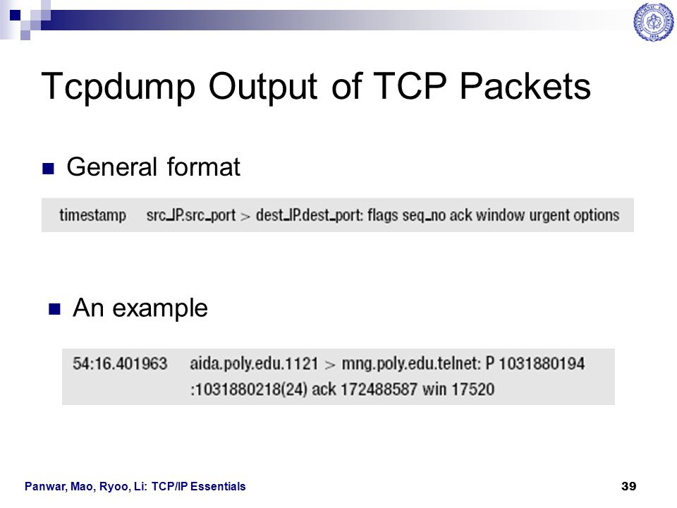 Tcpdump Output of TCP Packets