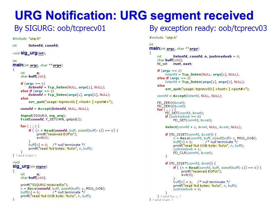 URG Notification: URG segment received