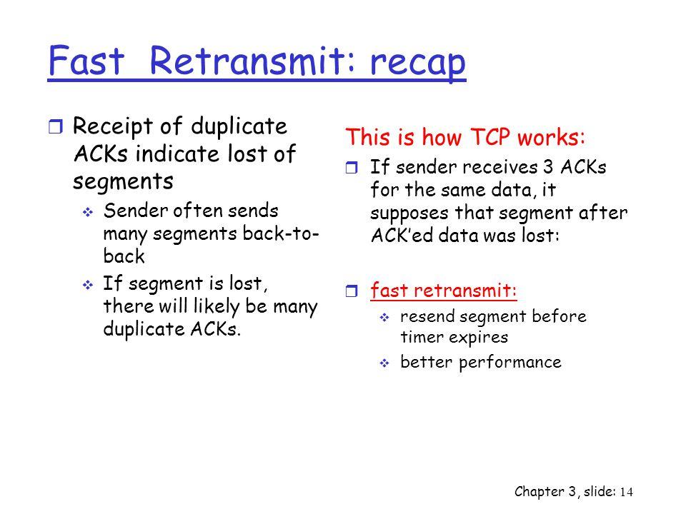 Fast Retransmit: recap