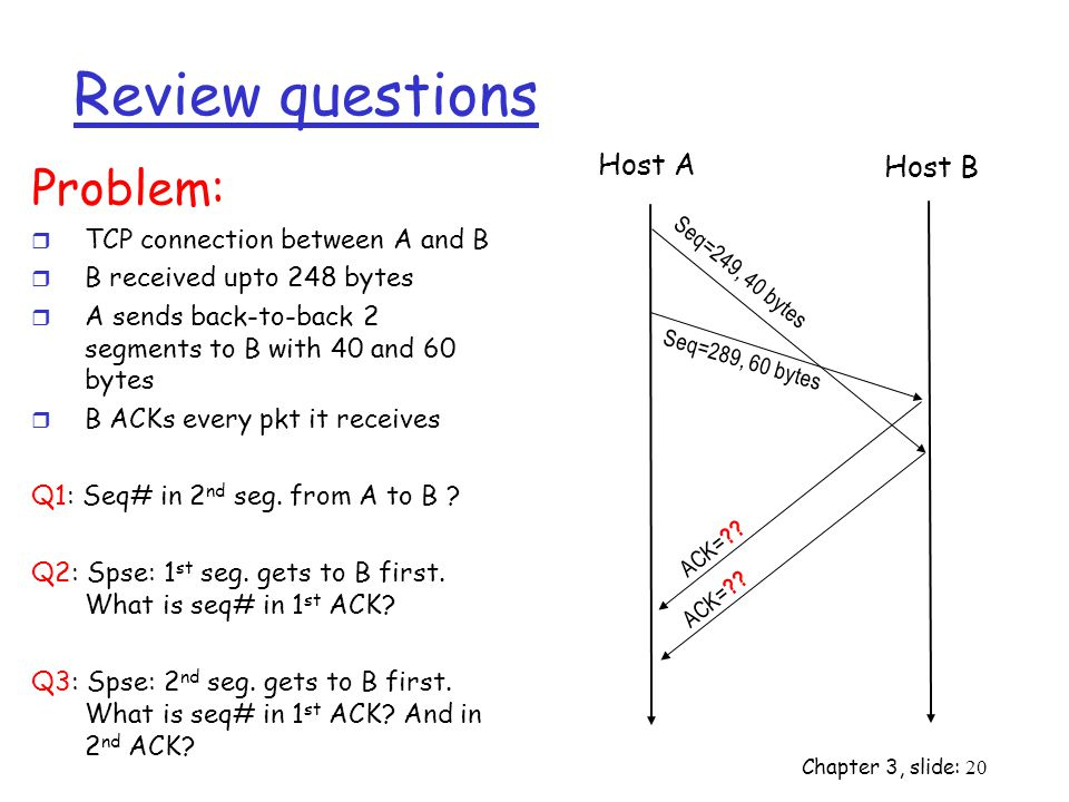 Review questions Problem: Host A Host B TCP connection between A and B