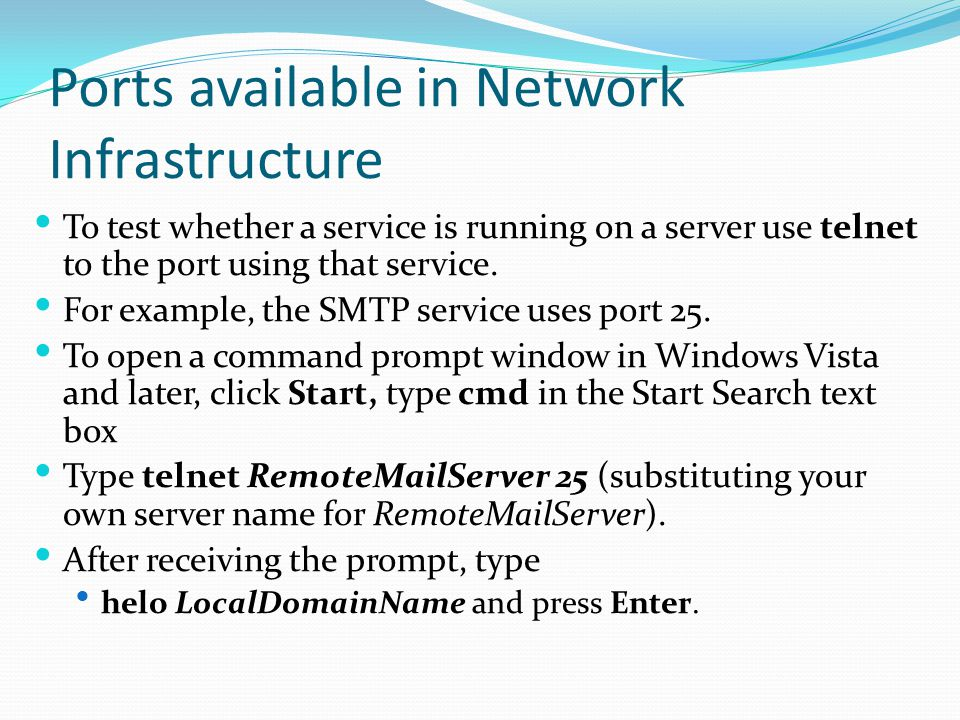 Ports available in Network Infrastructure