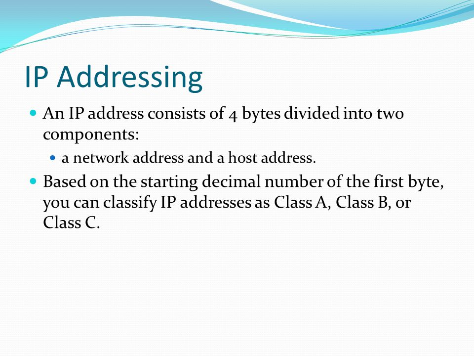 IP Addressing An IP address consists of 4 bytes divided into two components: a network address and a host address.