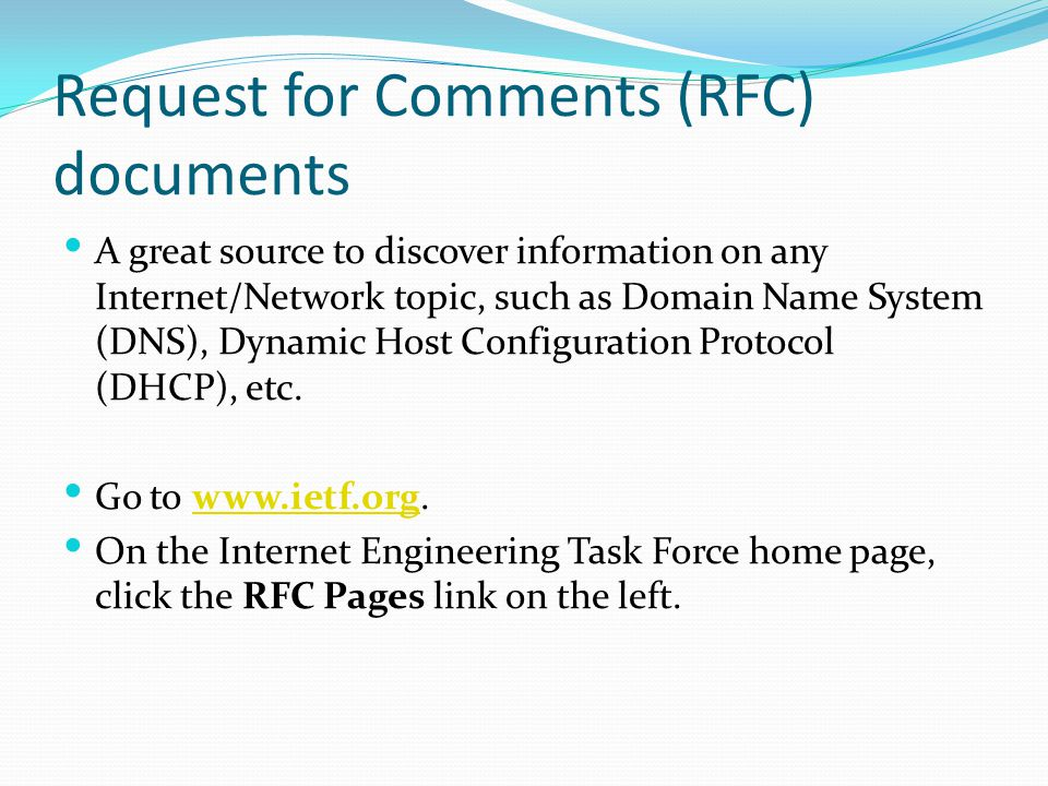 Request for Comments (RFC) documents