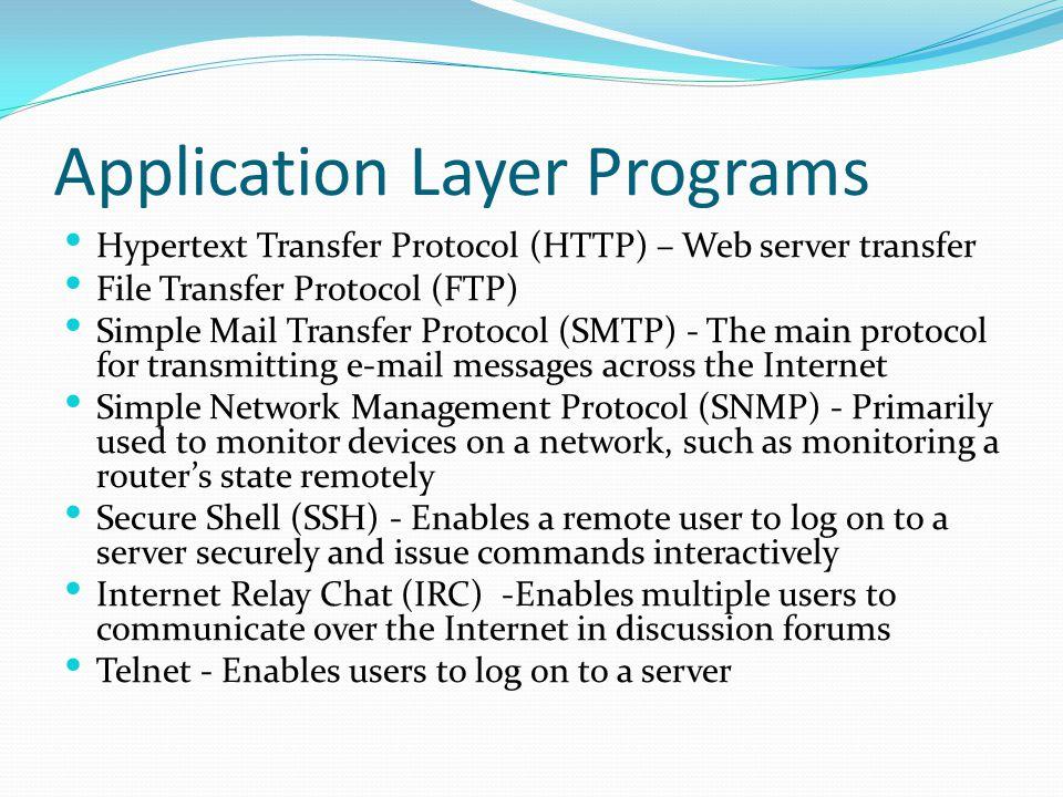 Application Layer Programs