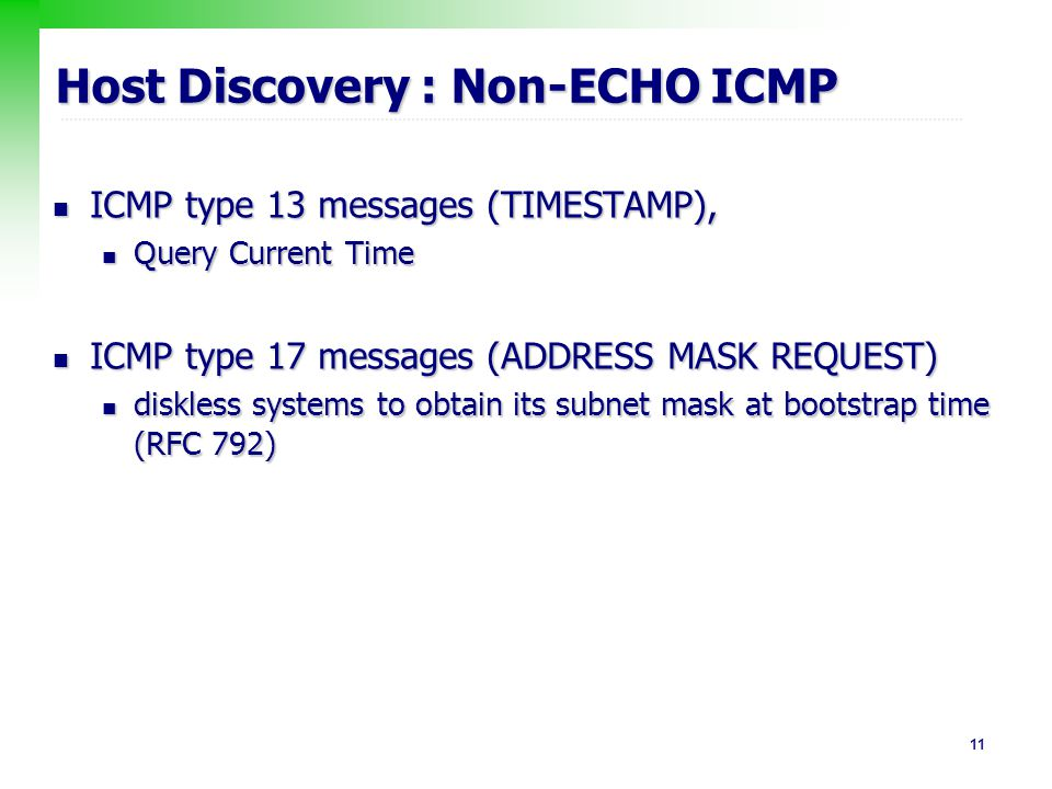 Host Discovery : Non-ECHO ICMP