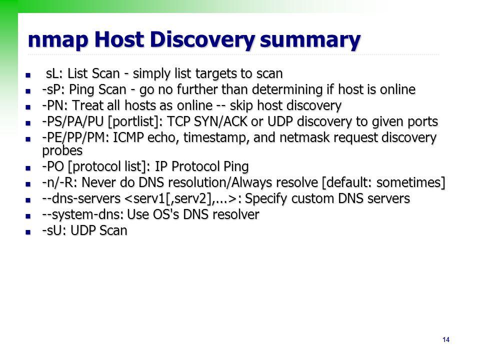 nmap Host Discovery summary
