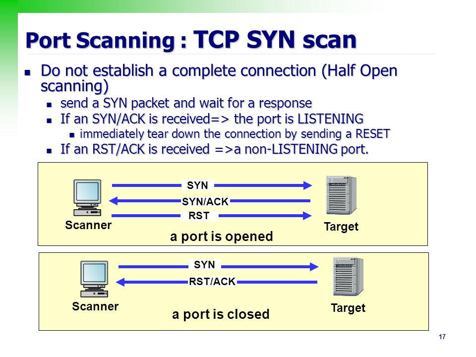 Port Scanning : TCP SYN scan