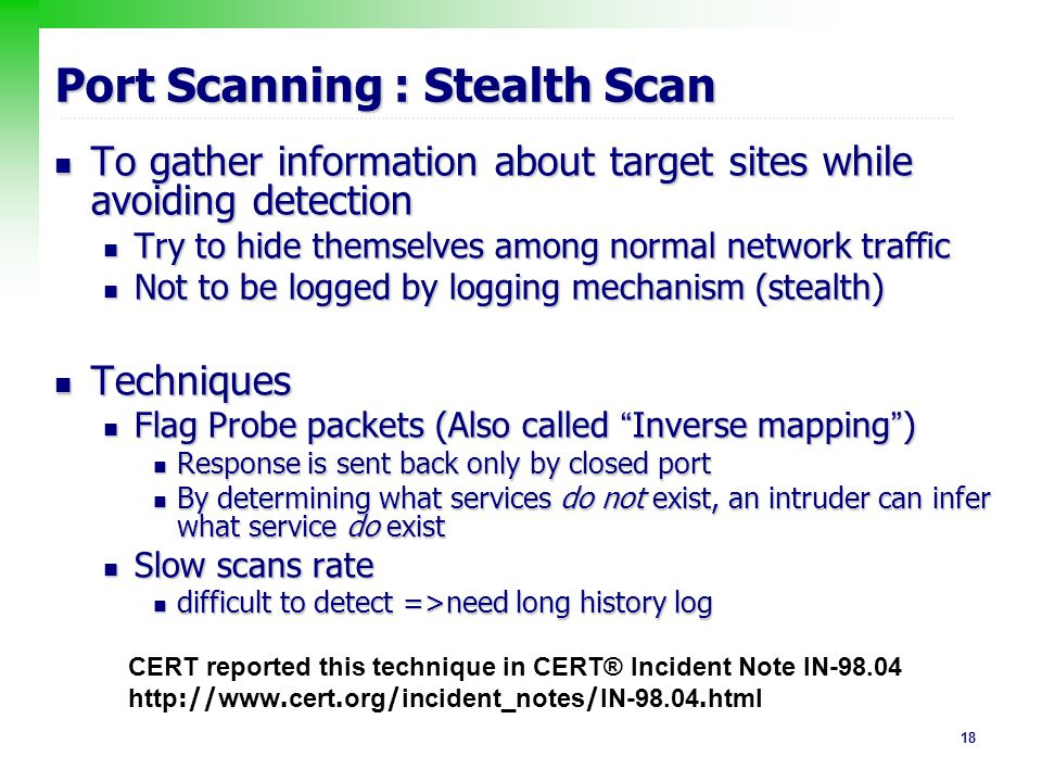 Port Scanning : Stealth Scan