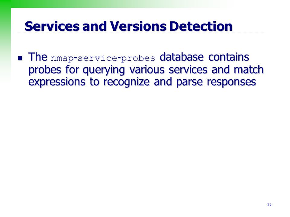 Services and Versions Detection