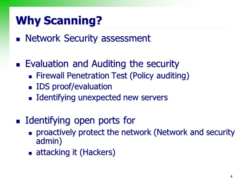 Why Scanning Network Security assessment